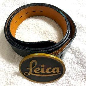 Justin basket weave belt-antique LEICA belt buckle